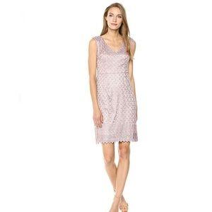 Adrianna Papell Short Guipure Lace DressV Neckline